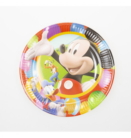 10 Paper Plates Large 23Cm Mickey Party Time
